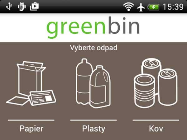 Mobilná aplikácia Green Bin