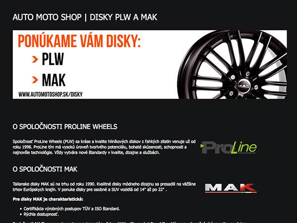 Webová vizitka disky PLW a MAK