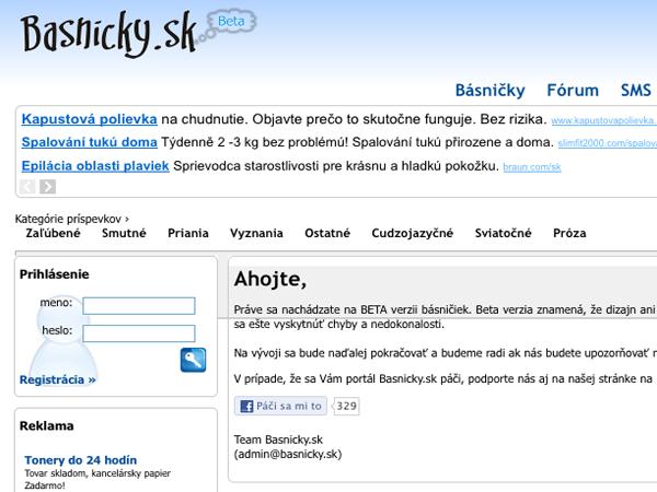 Internetový portál Básničky.sk