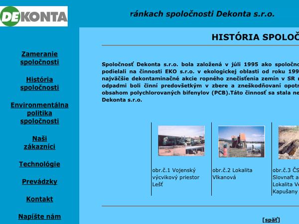 Webové stránky Dekonta s.r.o.