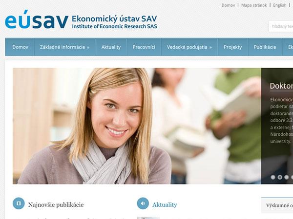 Webové stránky Ekomického ústavu SAV