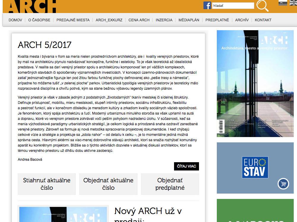 Nové web stránky časopisu Arch