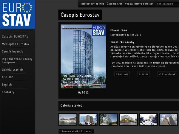 Webové stránky časopisu Eurostav
