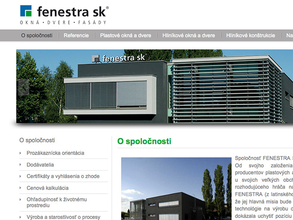 Nové webové stránky Fenestra sk
