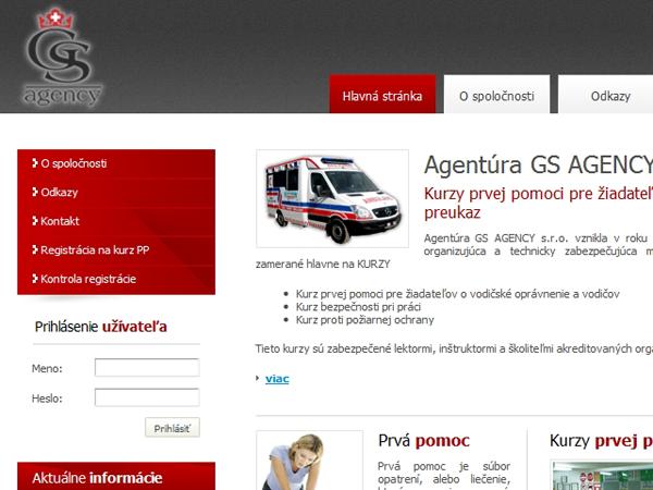 Webové stránky Agentúry GS Agency