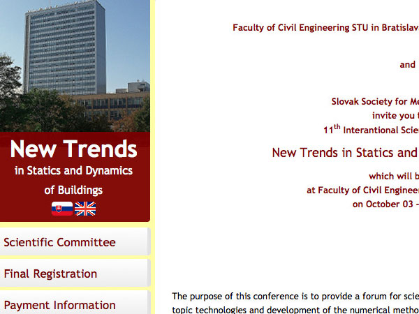 Webové stránky New Trends in Statics and Dynamics of Buildings