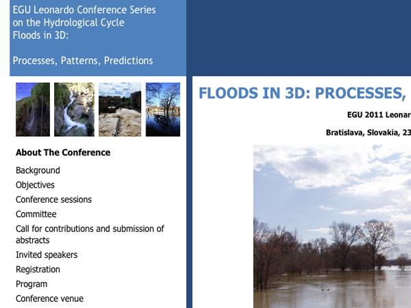 Webové stránky konferencie Floods in 3D