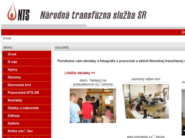 Webové stránky Národnej transfúznej služby SR