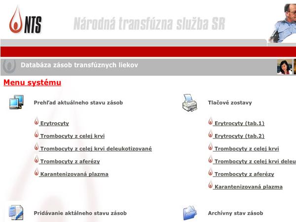 Intranetový systém evidencie zásob transfúznych liekov