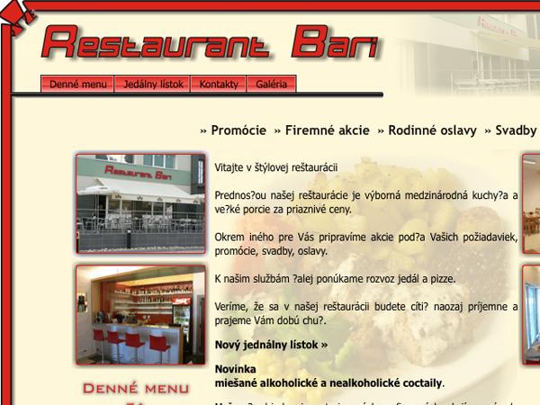 Webové stránky Restaurant Bari
