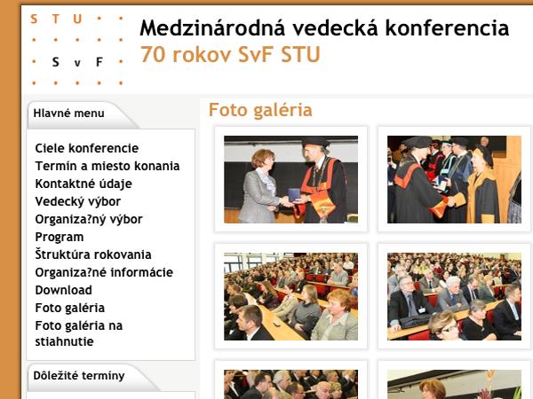 Webové stránky konferencie 70 rokov SvF STU