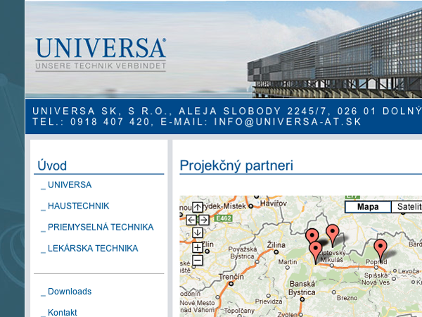 Webové stránky UNIVERSA SK