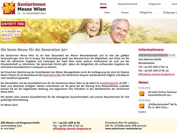 Webové stránky SeniorInnen Messe Wien
